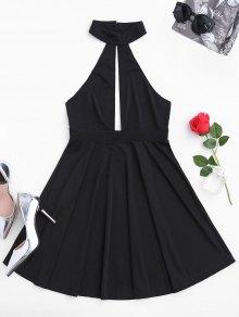 فستان بلا أكمام غارق شبكي عارية الظهر - أسود M