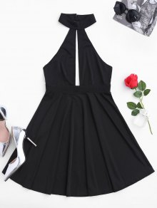 Sleeveless Plunge Mesh Backless Dress
