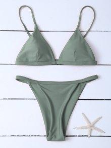 Low Waisted Spaghetti Strap Bikini Swimwear - Greyish Green