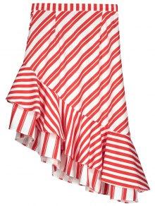 Two Tone Asymmetric Mermaid Striped Skirt - Red M