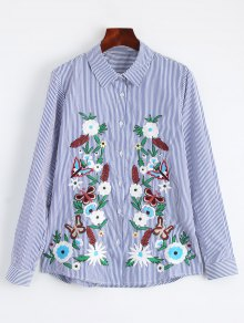 Cotton Striped Floral Embroidered Shirt
