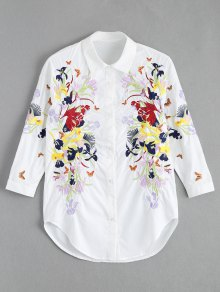 Floral Butterfly Embroidered Shirt
