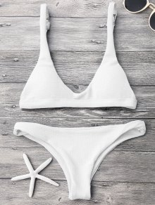 Low Waisted Padded Scoop Bikini Set - White M