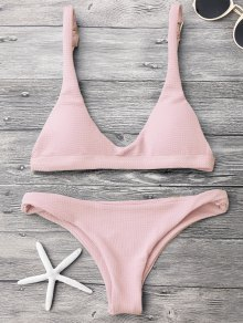 Low Waisted Padded Scoop Bikini Set - Pink M