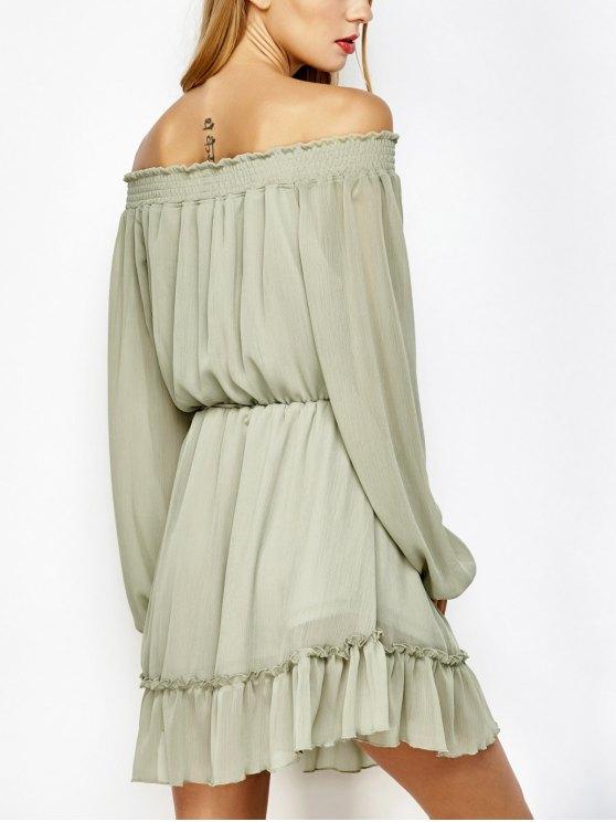 Off The Shoulder Chiffon Ruffle Mini Dress - LIGHT GREEN L Mobile