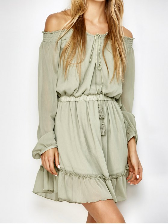 Off The Shoulder Chiffon Ruffle Mini Dress - LIGHT GREEN M Mobile