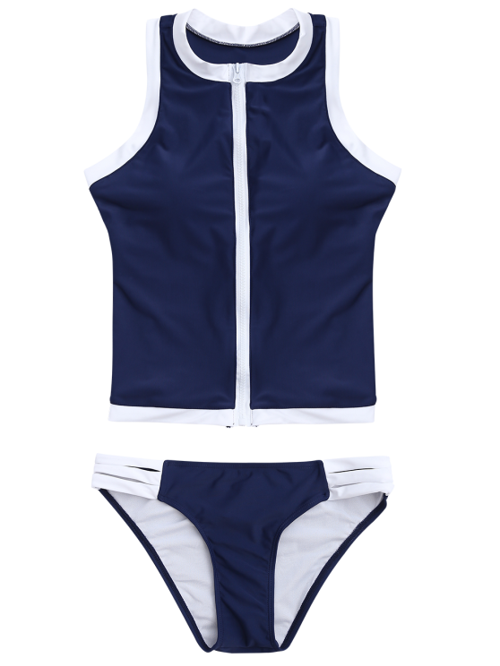 Color Block Full Zip Sports Tankini Set - DEEP BLUE M Mobile