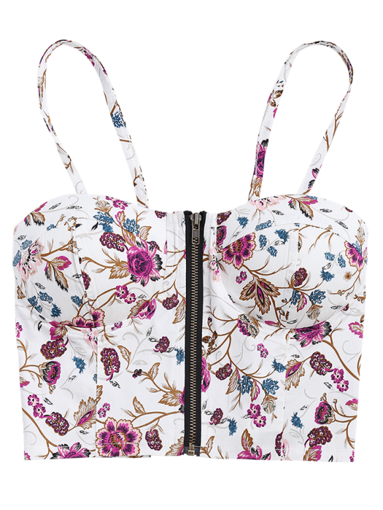 Front Zipper Morning Glory Padded Cami Top - WHITE ONE SIZE Mobile