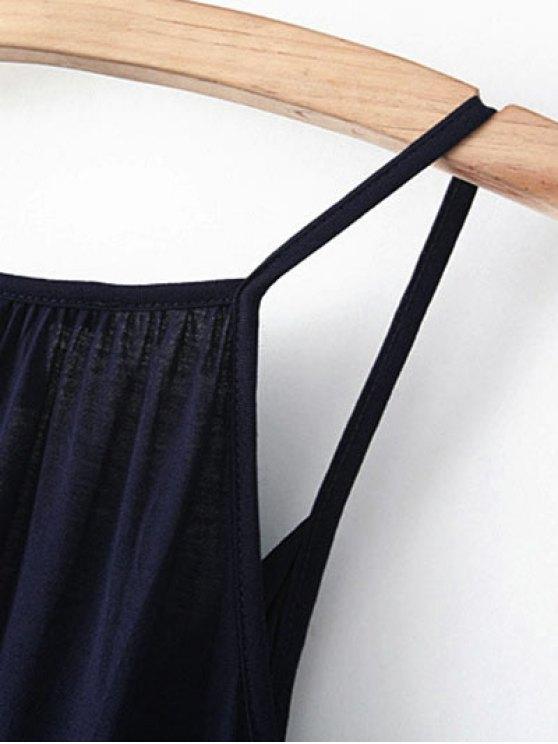 V Neck Wrap Cami Top - PURPLISH BLUE L Mobile