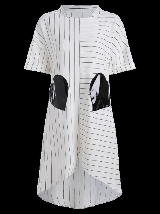 Striped Pockets Patch Irregular Hem Dress - WHITE M Mobile