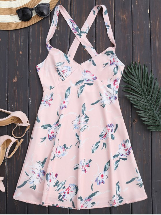 ladies Floral Backless Summer Dress - LIGHT PINK S