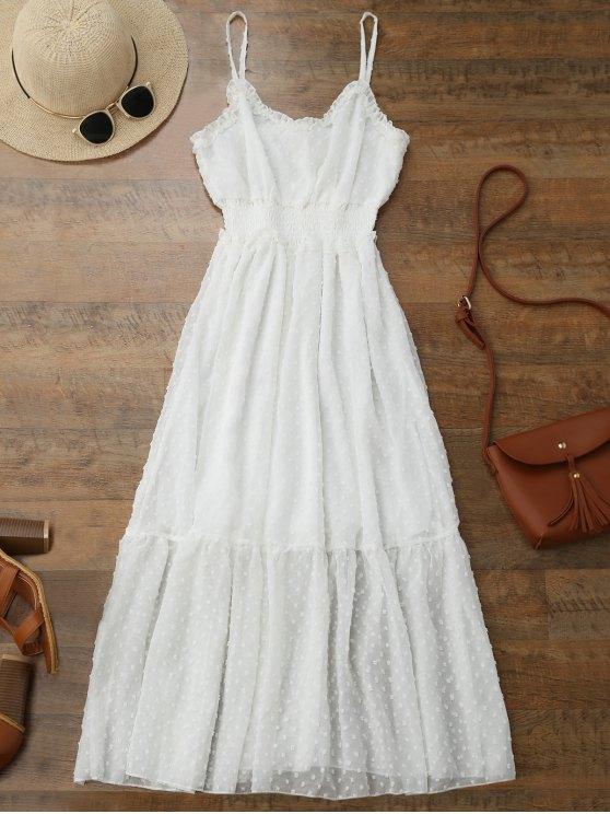 new Cami Dot Embellished Ruffle Midi Dress - WHITE ONE SIZE