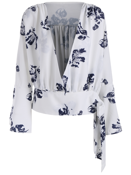 Abstract Print Plunging Neck Flare Sleeve Blouse - WHITE 2XL Mobile