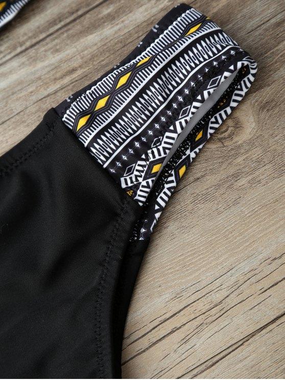 Geometric Horse Print Bikini Set - BLACK L Mobile