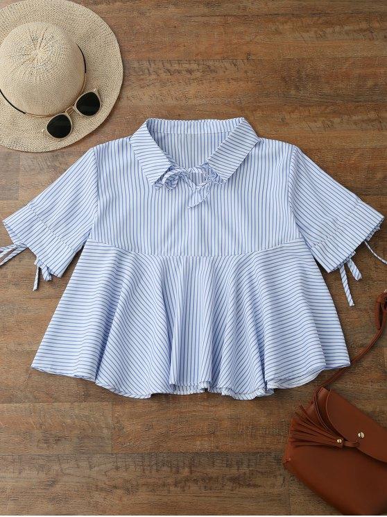 Camisa rayada bordeada frente del lazo - Azul L