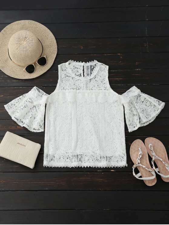 shops Cold Shoulder Flare Sleeve Lace Top - WHITE S