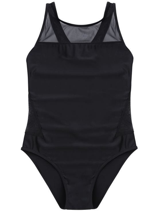 High-Neck See-Through One-Piece Swimwear - BLACK L Mobile