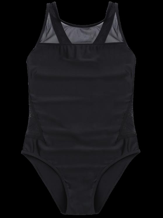 High-Neck See-Through One-Piece Swimwear - BLACK XL Mobile