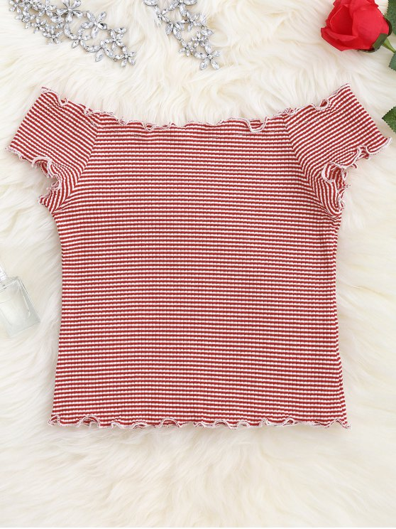 Striped Ruffles Ribbed Top - STRIPE ONE SIZE Mobile