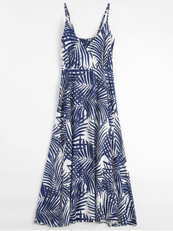 Palm Tree Print Slip Maxi Holiday Dress - COLORMIX L Mobile
