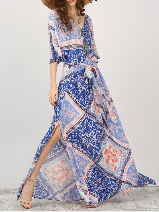 Robe Maxi Imprimé à Manches Kimono Avec Ceinture - Multicolore L