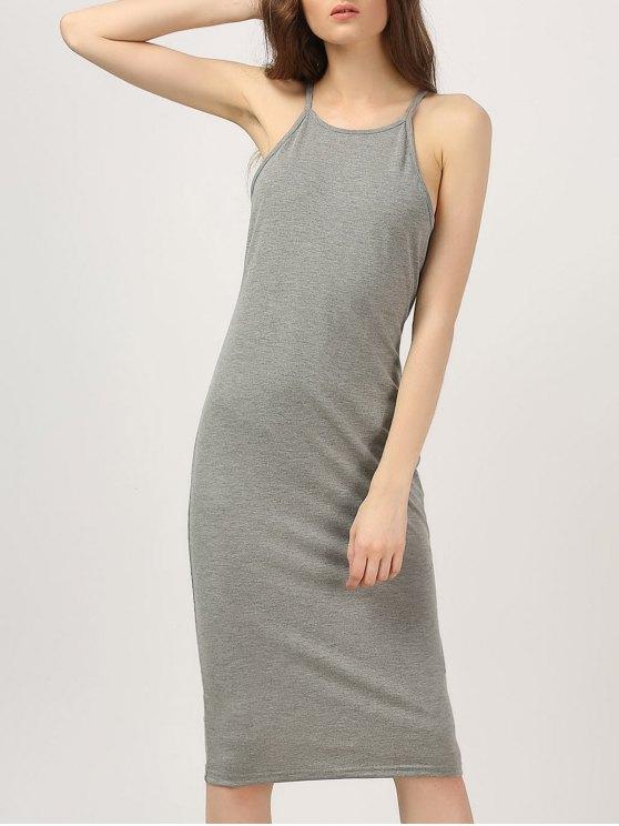 Vestido de cuello alto con cuello alto de Midi - Gris L