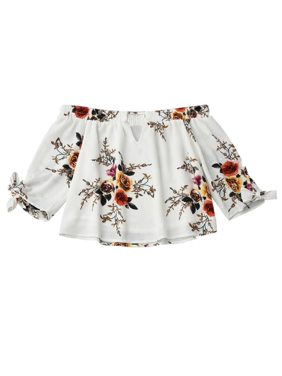 Off Shoulder Keyhole Floral Cropped Blouse - WHITE S Mobile