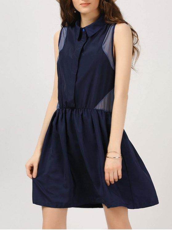 Vestido casual de panel de gasa de medio botón - Azul Purpúreo L