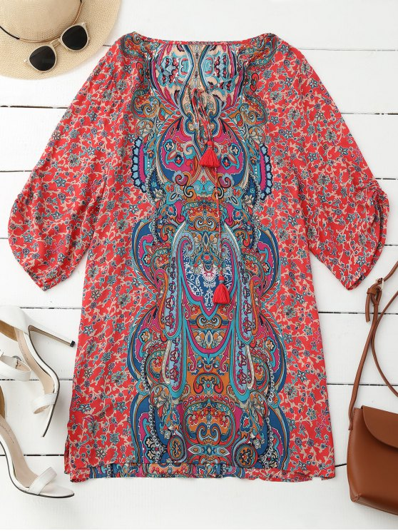 latest Ruched Sleeve Retro Paisley Print Tunic Dress - RED S