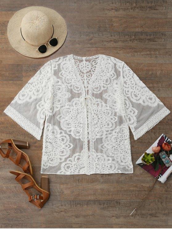 Lace Kimono Cover Up - Blanco Única Talla