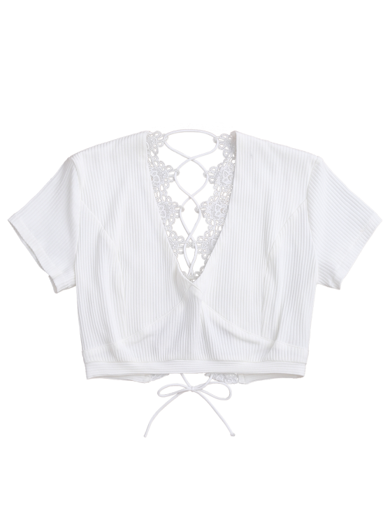 Crochet Panel Plunge Lace Up Cropped Cover Up - WHITE S Mobile