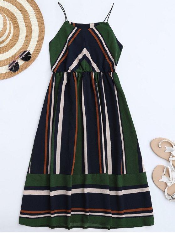 affordable Multi Stripe Cami Midi Sundress - GREEN S