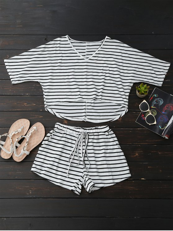 High Low Striped T-Shirt with Drawstring Shorts - STRIPE S Mobile