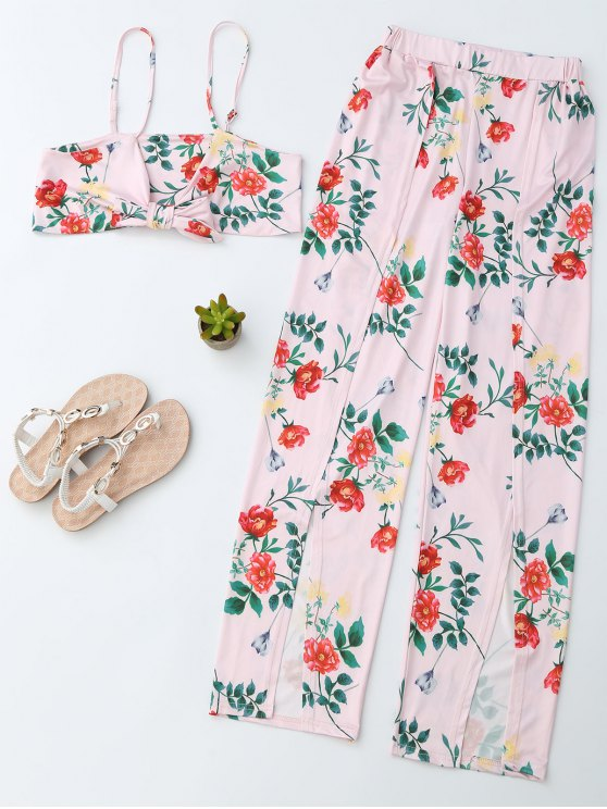 fashion Floral Crop Cami Top with Side Slit Pants - PINK M