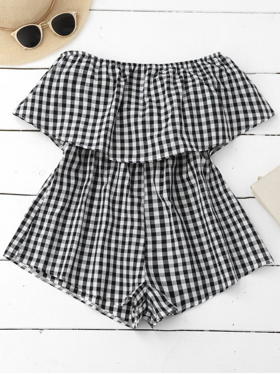 Checked Overlay Tube Romper - PLAID S Mobile
