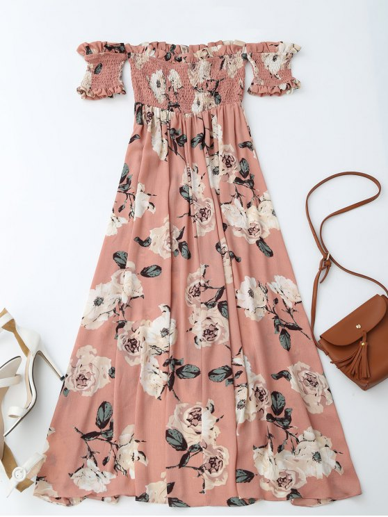 Off Shoulder Shirred Slit Floral Maxi Dress - PINK S Mobile