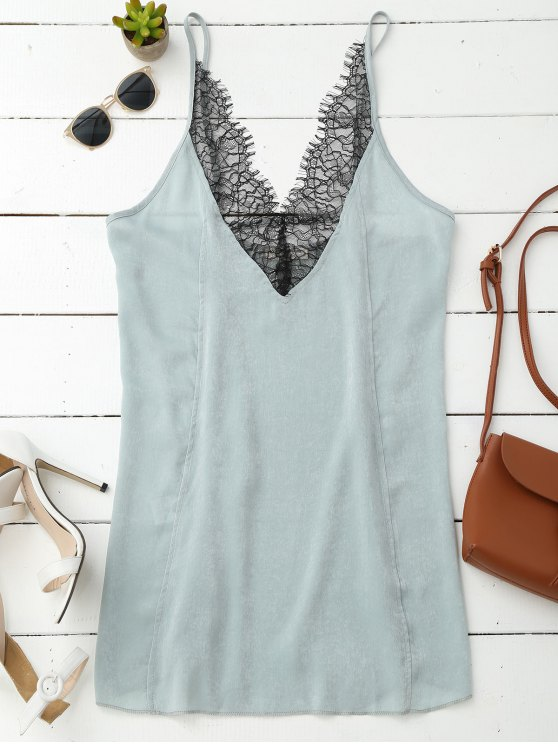 unique Cami Lace Panel Satin Backless Dress - LIGHT GREEN S