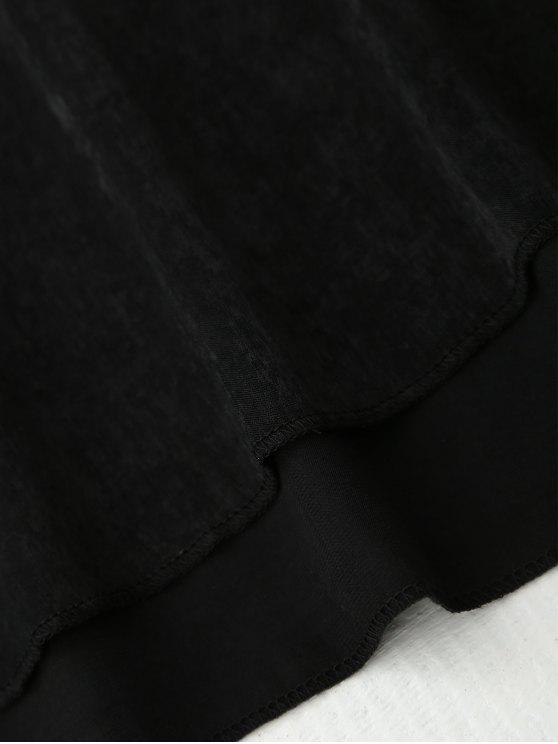 Cami Lace Panel Satin Backless Dress - BLACK L Mobile
