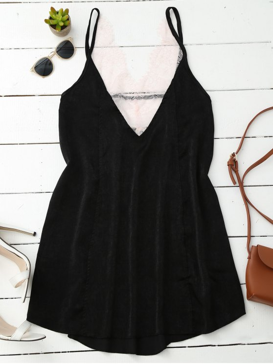 buy Cami Lace Panel Satin Backless Dress - BLACK L