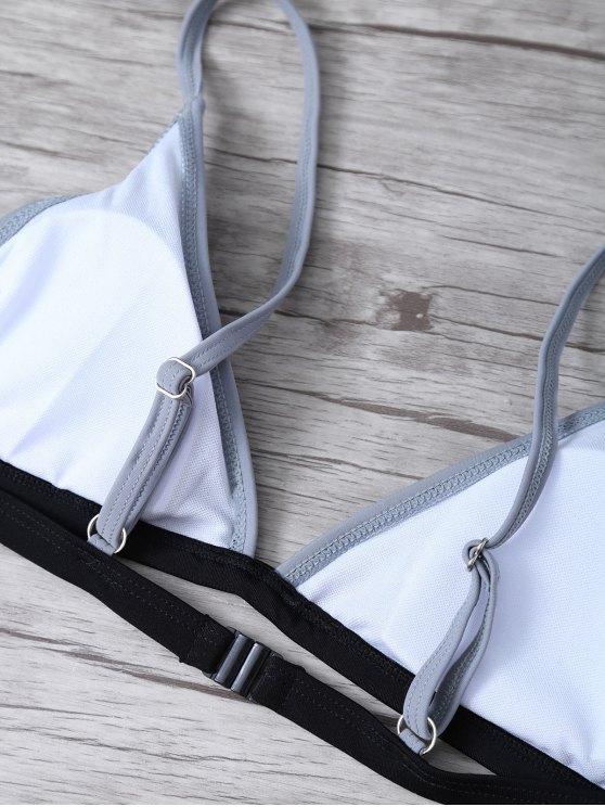 High Cut Color Block Bathing Suit - BLACK L Mobile