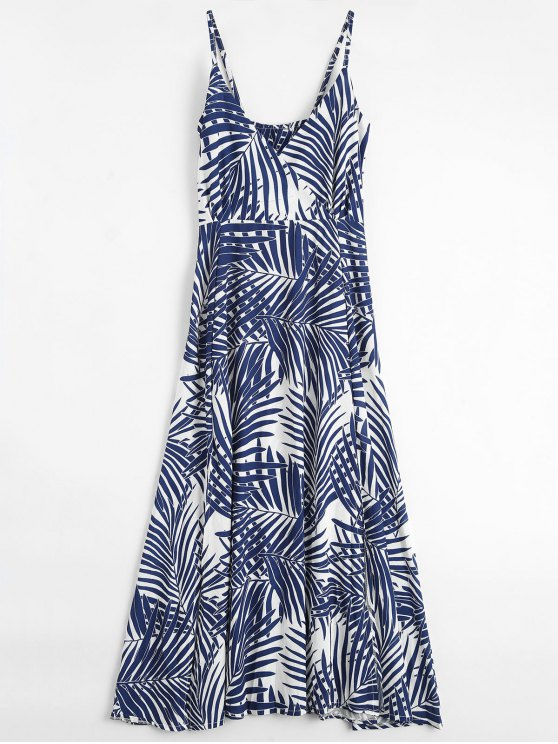 outfits Palm Tree Print Slip Maxi Holiday Dress - COLORMIX L