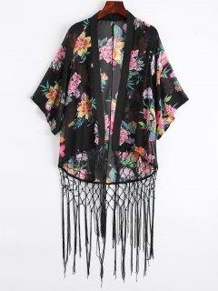 Floral Fishnet Fringed Kimono - Black L