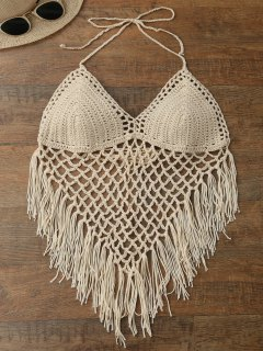 Halter Open Back Crochet Fringe Top - Beige