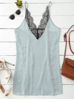 Cami Lace Panel Satin Backless Dress - Light Green M