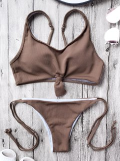 Cami Bralette String Bikini Set - Coffee M