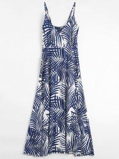 Palm Tree Print Slip Maxi Holiday Dress - M