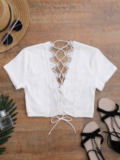 Crochet Panel Plunge Lace Up Cropped Cover Up - White M