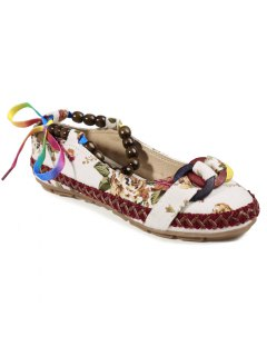 Floral Print Beading Flat Shoes - Off-white 41