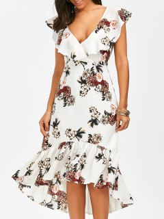 Plunging Floral Ruffle Backless Tea Length Dress - White L