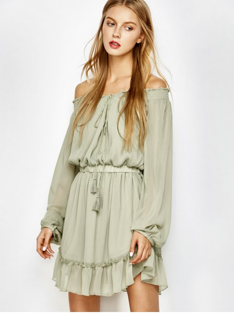 online Off The Shoulder Chiffon Ruffle Mini Dress - LIGHT GREEN S Mobile